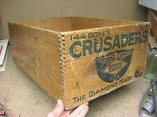 vintage antique crate wooden CRUSADER Diamond Matches, NICE! 24x16x9 dovetail