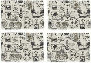 Travelogue Navy Shell Pattern on White Kitchen Dining Room Placemats Set of 4