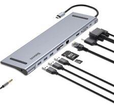 Baseus USB C Laptop Docking Station, Aluminum 10-in-1 USB C Hub with Gigabit E..