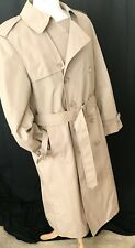 Vintage LONDON FOG Trench Coat Mens 40R Tan Raincoat Double Breasted Belted  USA