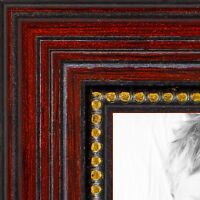 """ArtToFrames Custom Picture Poster Frame Red Cherry with Beads 1"""" Wide Wood"""