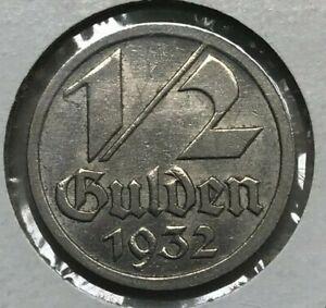 1932 Danzig 1/2 Half Gulden - Scarce Type