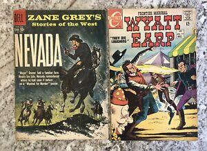 2 Silver Age Western Comics Charlton Wyatt Earp 72 Zane Grey Dell Four Color 996