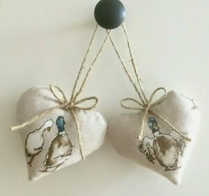Pair Heart Door Hangers Designer Linen Ducks