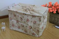 Canvas Zakka Vintage Drawstring Storage Laundry Shopping Basket  Fold Bin Flower