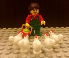 Lego NEW Female Girl Farmer Worker Minifigure With 5x White Chicken And Bucket