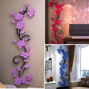 JW_ 3D Vase Flower Tree DIY Removable Art Vinyl Wall Stickers Decal Mural Home