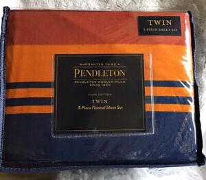 Pendleton Twin Flannel Sheet Set 3 Piece Cotton Washable Grand Canyon Multi