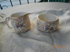 Pompador sugar and creamer,  gold chintz vintage, lord nelson, garden scenes