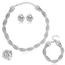4Tlg. Schmuck Set, Collier-Ohrringe-Armband-Ring versilbert NEU
