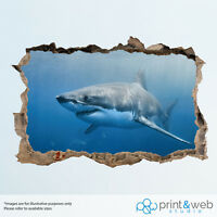 Cool Great White Shark Ocean Wall Smash Decal Sticker 3D Bedroom Vinyl Mural Art