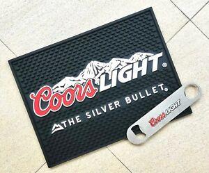 Free Ship Coors LIGHT Rubber drip mat bar mat spill mat & Bottle Opener bar set