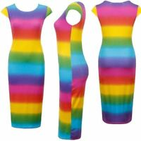 New Womens Ladies Rainbow Striped Multi Colour Short Cap Sleeve Midi Dress 8-22