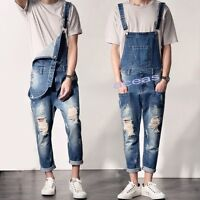 Classice Men's Denim Distressed Bib Pants Overalls Suspender Trousers Slim Jeans