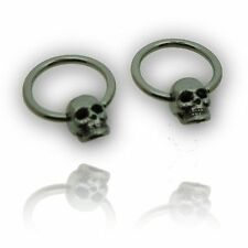 "PAIR 14g 1/2"" INCH CBR SKULLS NIPPLE RINGS EAR BODY JEWELRY PLUGS GAUGES"