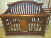 wooden cot for child up to 5 years ,in wood color, includes mattress ans box spr
