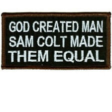 GOD CREATED MAN SAM COLT MADE THEM EQUAL EMBROIDERED IRON ON BIKER PATCH