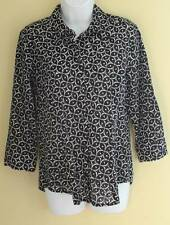 CHICO'S Black White Printed CUT-OUT Eyelet Lightweight Cotton 3/4 Shirt Sz 1 M