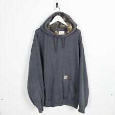 Vintage CARHARTT Small Pocket Logo Hoodie Sweatshirt Grey XL
