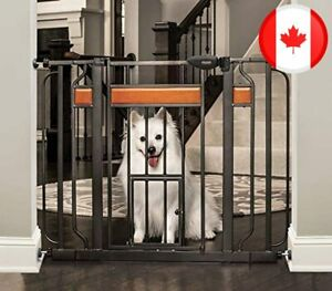 Carlson Home Design Extra Wide Walk Thru Pet Gate with Small Pet Door, Includes
