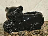 Vintage McCoy Pottery Black Cat Kitten Yarn Planter 348A USA