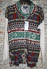 Chaps Denim Misses LARGE Southwestern Shirt Top Red Green LS Cowl Neck Soft New