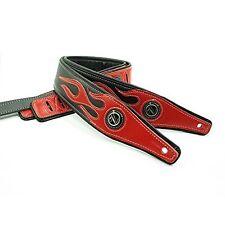 Vorson A5H1010RB Padded Leather Flame Guitar Strap Red/Black Black/Red