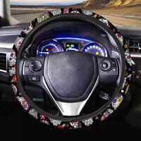 Floral Skull Women Fashion Auto Interior Car Steering Wheel Cover Soft Comfort