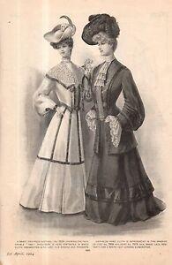 """1904 Original Delineator Print - """"1830"""" shoulders andNavy-blue habit Coat"""