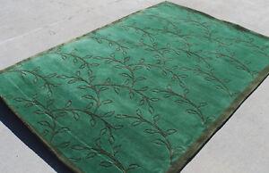 R13980 Muted Green Color Tibetan Woolen Area Rug 5 X 8' Handmade in Nepal