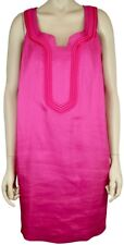 Y AND KEI OBZEE FUCHSIA HOT PINK LINEN BLEND SHIFT DRESS, SIZE 40/SMALL