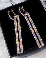 Rose Gold Crystal Earrings Long Geometric Rectangle Drop Clear Diamante Earrings