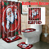 Christmas Bathroom Shower Curtain Pedestal Rug Lid Toilet Cover Bath Mat Decor