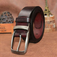 Mens Genuine Real Leather Smooth Girdle Buckle Waistband Pin Buckle Belt Strap