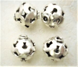 925 STERLING SILVER 11mm Filigree Round (2 Beads) S618