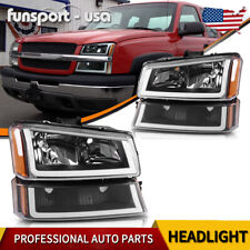 Black Housing For 2003 2006 Chevy Silverado Amber Headlightlamp Withled Drl Fits More Than One Vehicle