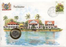 superbe enveloppe SURINAME SURINAM pièce monnaie 25 cent 1979 NEUF NEW UNC timbr