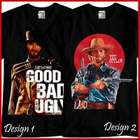 Clint Eastwood Tribute Western Cowboy Movie Black T-Shirt TShirt Tee Size S-3XL