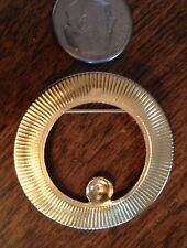 Vintage Gold-tone Round Metal Pin Brooch