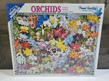 """Brand New Sealed ORCHIDS Puzzle WHITE MOUNTAIN 1000 Piece Puzzle 24"""" x 30""""  USA."""
