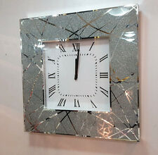 Moderne Scintillant Paillettes Lignes Verre Miroir Carré Horloge Murale 50cm