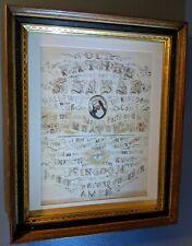 Antique Large Framed Religious Sampler - The Lord's Prayer - Silk Threading