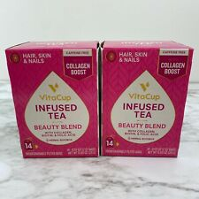 VitaCup Beauty Blend Infused Tea 14 ct Jasmine Herbal Rooibos Lot of 2
