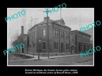 OLD LARGE HISTORIC PHOTO OF DETROIT MICHIGAN GRATIOT Ave POLICE STATION c1880