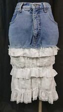 Vintage Armani Denim white Eyelet lace layered Ruffle Skirt M excellent condtn