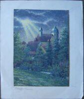 ::GOUACHE OBERSONTHEIM BEI SCHWÄBISCH-HALL K. MELBER 1930 ABENDSTIMMUNG ANTIK