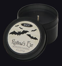 ROOT CANDLES HALLOWS EVE HALLOWEEN TRAVEL TIN SCENTED CANDLE. RED CANDLE.