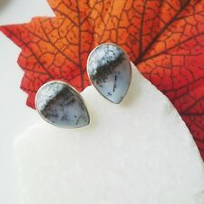 Merlinit Dendriten Achat grau weiß Ohrringe Ohrstecker 925 Sterling Silber