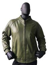 Jakewood Genuine Lambskin Leather Baseball Varsity Jacket Olive Green  3XL