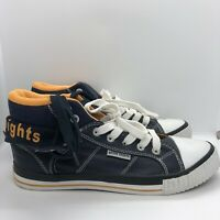 British Knights Roco Trainers UK 6 High Top Navy Blue Orange Lace Up PU Leather